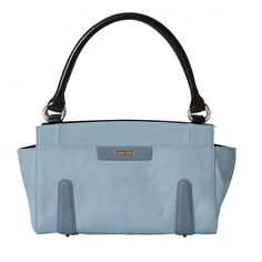 """The softest colors of nature come to life in the Brecken for Classic MICHE bags. Faux leather in a delicate shade of light forget-me-not blue is offset by simple appliquéd """"stuffed"""" details in blue-grey. Sometimes the way to make a bold fashion statement is with a whisper. Silver hardware; end pockets."""