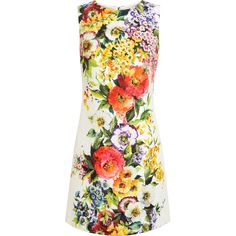 DOLCE & GABBANA Floral Jaquard Dress (€1.540) ❤ liked on Polyvore featuring dresses, vestidos, dolce & gabbana, vestiti, dolce gabbana dress, floral pattern dress, floral print dress, sleeveless dress and jacquard dress
