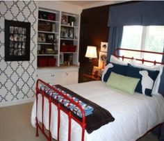 Preppy bedroom...love the red iron bed