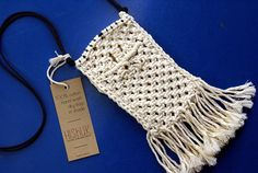 Mini Cross Body Bag Macrame Phone Case White Cotton Cell Phone