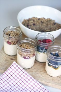"Whether you have a little on to get off to school or not, mornings can be  hectic.  Anything you can do to prep for the morning makes it flow more  smoothly.  That's why we're loving these ""make ahead"" parfaits.  A package  of 12 8oz. mason jars is just under $10 at most grocery stores - cheaper  than rubbermaid - and better yet, reusable and last a lifetime.  After some experimentation, we found that layering your fruit between the  yogurt and granola keeps the granola from getting soggy…"