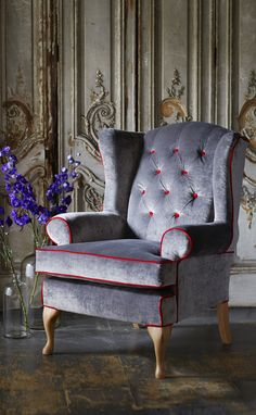 Murrayfield Button Back Chair in Osborne & Little Façade Velvet with Contrast Piping. Available at Multiyork.