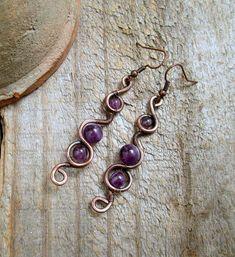Purple Dangle Earrings / Amethyst Wire Wrap Earrings /