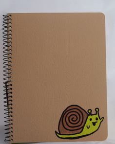Recycled Notebook with Painted Waving Snail in by kitncatherine, $9.00
