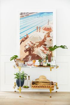 How to style a bar cart - great inspiration for modern coastal decor // Gray Malin's Living Room Reveal with Anthropologie