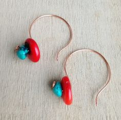 Hoop earring, coral earring, turquoise and coral earring, copper hoop earring, orginal coral earring, gemstone jewelry earrings by Mystarjewelry on Etsy