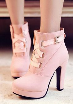 cb1b1d0308c New Women Pink Round Toe Chunky Buckle Fashion High-Heeled Martin Boots