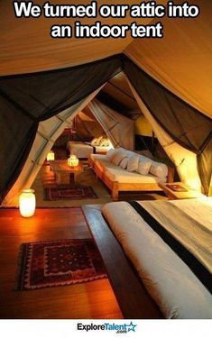 : They made their attic an indoor tent, what a great idea. Looks super g . They made their attic an indoor tent, what a great idea. Looks super cozy ! Attic Renovation, Attic Remodel, Closet Remodel, House Renovations, Attic Spaces, Attic Rooms, Attic Apartment, Attic Bathroom, Apartment Ideas