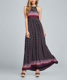 Complete your ensemble in free-spirit vibes with this maxi dress decorated with feminine lace, paisley print and a halter design.100% rayonHand wash; hang dryImportedShipping note: This item is made to order. Allow extra time for your special find to ship.