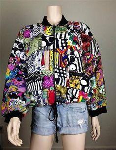 $25 Vintage Retro 80's 90's patchwork sequin colorful bomber jacket