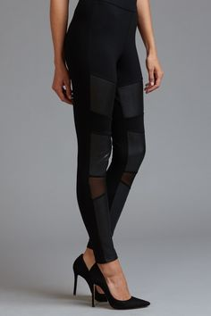 High Rise Faux Leather Legging With Mesh