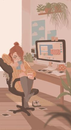 Find images and videos about girl, gif and art on We Heart It - the app to get lost in what you love. Cute Cartoon Wallpapers, Animes Wallpapers, Pretty Art, Cute Art, Cartoon Art Styles, Kawaii Wallpaper, Heart Wallpaper, Anime Art Girl, Cute Illustration