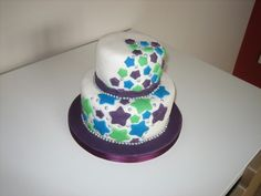 Star, 2 tier cake - blue, green, purple, birthday
