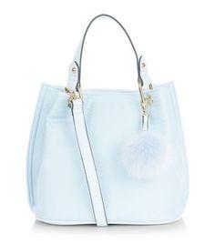 Pale Blue Snakeskin Textured Pom Pom Trim Duffle Bag