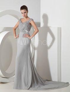 Grace Silver Chiffon Applique andar vestido de comprimento