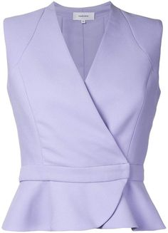 Purple wrap detail sleeveless shirt from Carven. This item fits large, please select the next size down. Blouse Styles, Blouse Designs, Sewing Blouses, Formal Tops, Wrap Shirt, Carven, Sleeveless Shirt, Work Attire, Ideias Fashion