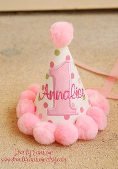 Girls First Birthday Party Hat  Pink and green by daintycouture, $25.00