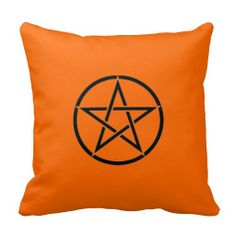 Pentacle Pillow Pagan Wiccan Wares by www.cheekywitch.com #witch #wicca #wiccan #pagan #pentacle #pentagram #cushions #pillows #throwpillows #orange #halloween