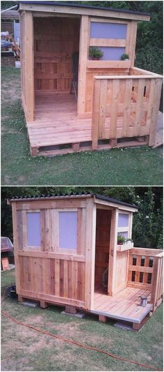 Are you planning out to live independently? If yes, then get ready to arrange a perfect and comfortable wood pallet shed or cabinet for you. How about this idea? It looks so awesome and cool. This cabinet idea is featuring one room space in a hut shaped designing.