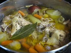 Chicken Bone Broth - paleomom's version...i adore making chicken/turkey stock now...but this time i used this idea of putting the giblets back in the crockpot too - YUM!