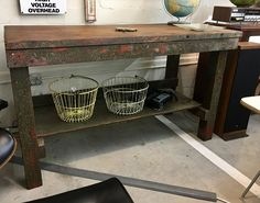 """Primitive Wood Table / Island On Sale  65"""" Wide x 28"""" Deep   Was $225 Sale Price $169  Mid Century Dallas Booth #766  Lula B's in the OC! 1982 Ft. Worth Ave. Dallas, TX 75208"""