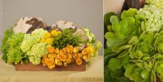Tic Tock Couture Florals. Wedding. Yellow and Green.