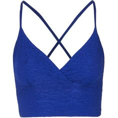 TopShop Pleated Bralet (22 AUD) ❤ liked on Polyvore featuring tops, crop tops, shirts, crops, blusas, cobalt, bralette tops, blue top, blue crop top and crop shirts