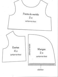 FREE from Elizangela Rodrigues Sewing Doll Clothes, Sewing Dolls, Doll Clothes Patterns, Barbie Clothes, Doll Patterns, Clothing Patterns, Accessoires Barbie, Teddy Bear Clothes, Lol Dolls