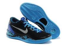 Game Royal-Mens Kobe 8 PP Blue and Black Silver Trainers for Sale