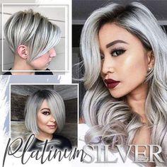 Silver Blonde Hair Dye, Metallic Hair Dye, Gray Hair Highlights, Platinum Grey, Platinum Hair Color, Permanent Hair Dye, Color Your Hair, Moisturize Hair, Silky Hair