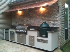 Outdoor Kitchen like the canopy above - Garten küche, outdoor kitchen, backyard BBQ - Outdoor Kitchen Ideas Backyard Kitchen, Summer Kitchen, Outdoor Kitchen Design, Backyard Patio, Big Green Egg Outdoor Kitchen, Green Kitchen, Diy Patio, Outdoor Grill Area, Bbq Area