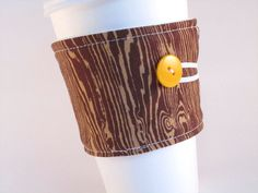 Coffee Sleeve Brown Wood Grain Coffee Cozy by bamcraftymommas