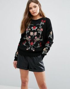New Look Floral Embroidered Kniited Jumper