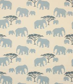 Elephants Fabric / Blue