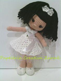 amigurumi doll coleccion nube comunion muñeca coleccion nube ♡ lovely doll Knitted Dolls, Crochet Dolls, Knit Crochet, Crochet Hats, Girl Dolls, Baby Dolls, Yarn Needle, Amigurumi Doll, Crochet Animals