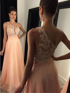 Sexy Backless See Through Back Prom Dress, Charming Chiffon Beading Prom Dress,Sexy One Shoulder Evening Dress, Peach Chiffon Prom Gown