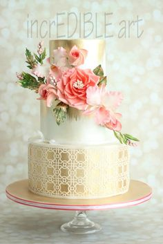 Pink and Gold Cake Gorgeous Cakes, Pretty Cakes, Cute Cakes, Wafer Paper Flowers, Wafer Paper Cake, Cakepops, Wedding Cakes With Cupcakes, Cupcake Cakes, Metallic Cake