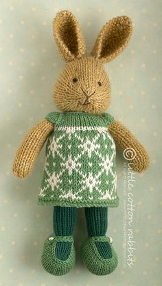 Gisli the little cotton rabbit by LCRknitted on Etsy Knitted Bunnies, Knitted Animals, Knitted Dolls, Free Knitting, Baby Knitting, Knitting Patterns, Crochet Game, Knit Crochet, Snowflake Dress