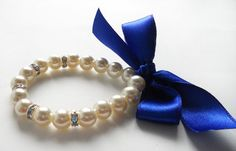 Pearl bracelet with royal blue satin ribbon and rondelles bridal bracelet bridesmaid bracelet wedding valentine jewelry