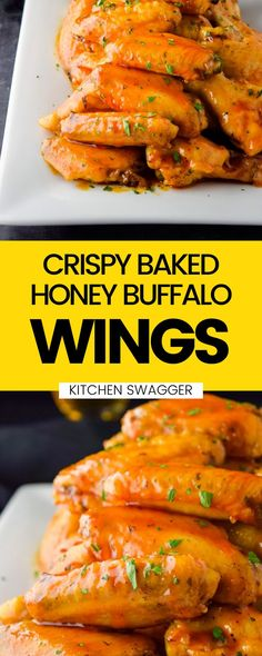 Crispy baked honey buffalo wings are sweet, spicy, and ready for game day. Better yet, these wings will please both teams—slightly spicy, but sweet enough to serve as a mild buffalo wing. They are baked in the oven until crispy and tossed in homemade honey and buffalo sauce. Spicy Appetizers, Easy Appetizer Recipes, Honey Buffalo Wings Recipe, Wing Recipes, Beef Recipes, Whole Baked Chicken, Slow Cooker Chicken Thighs, Great Chicken Recipes, Chicken Wings Spicy