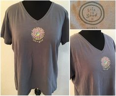 Womens Life is Good Plus Size 2X Gray T-Shirt V Neck Flower Graphic XXL #LifeisGood #GraphicTee