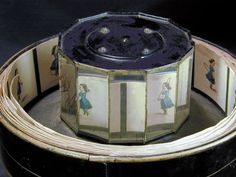 Praxinoscope- A band of pictures is placed inside a shallow outer cylinder, so that each picture is reflected by the inner set of mirrors.  The number of mirrors is equal to the number of pictures, and the images of the pictures are viewed in the mirrors.  When the outer cylinder rotates, the quick succession of reflected pictures gives the illusion of a moving picture.