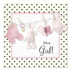 Pink Clothesline Baby Girl Shower Custom Invitations