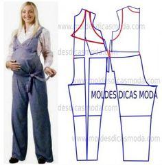 macacão para grávidas Maternity Dress Pattern, Maternity Patterns, Maternity Jumpsuit, Maternity Dresses, Easy Sewing Patterns, Clothing Patterns, Dress Patterns, Jumpsuit Pattern, Pants Pattern