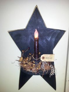 primitive decor~ star candle sconce ~ americana ~ COUNTRY ~farmhouse ~star~