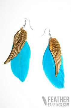 For those Days That You Simply Want to Fly Away For A While -  Angel Wing Blue Goose Feather Earrings $14.99 Feather Earrings, Drop Earrings, Diy Jewellery, Jewelry, Goose Feathers, Wings, Angel, Metal, My Style