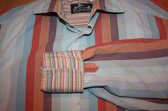 Robert Graham RG Striped Cotton Long Sleeve Shirt Flip Cuffs Size Large #RobertGraham #ButtonFront