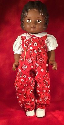 Vintage-17-Daisy-Kingdom-Doll-Dark-Skin-African-American-Red-Jumpsuit-Pansy