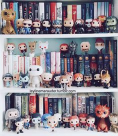 Estante cheia de funkos fofos decorando. Será que é assim? Dream Library, Book Nerd, I Love Books, My Books, Books To Read, Book Worms, Harry Potter, Bookshelf Inspiration, Shelfie