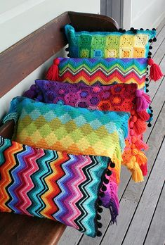 crochet cushion collection by rettgrayson, love colours! - Crochet brings back memories of time spent with my grandmar. She taught me to crochet. Beau Crochet, Love Crochet, Beautiful Crochet, Knit Crochet, Blanket Crochet, Crochet Granny, Peacock Crochet, Rainbow Crochet, Knitting Projects